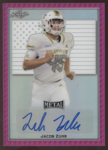 2020 Leaf Metal Draft Jacob Zuhr Wake Forest Pink RC Auto Autograph 9/10