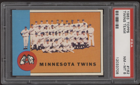 1963 Topps #162 Minnesota Twins Team Card Killebrew Kaat PSA 8 NM-MT
