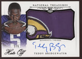 2014 National Treasures Teddy Bridgewater Hats Off Logo Patch RC Auto /6