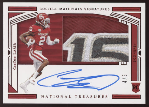 2020 National Treasures CeeDee Lamb Bowl Logo Patch RC Auto Autograph /5