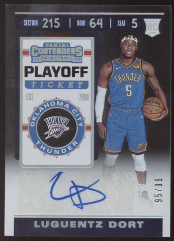 2019-20 Panini Contenders Luguentz Dort Playoff Ticket RC Auto Autograph /99