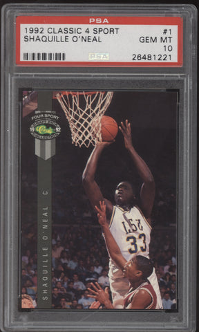 1992 Classic Draft Picks 4 Sport #1 Shaquille O'Neal RC Rookie PSA 10 Gem Mint