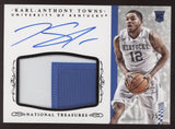 2015-16 National Treasures Karl-Anthony Towns 2 Color Patch Black RC Auto /5