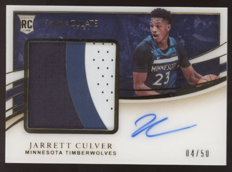 2019-20 Panini Immaculate Jarrett Culver Premium 3 Color Patch RC Auto /50