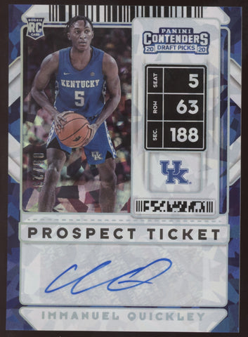2020 Panini Contenders Immanuel Quickley Prosp Ticket Cracked ice RC Auto /23