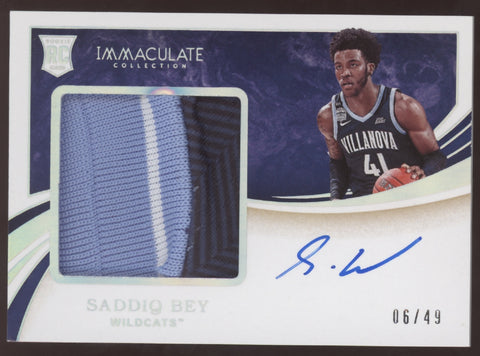 2020-21 Panini Immaculate Saddiq Bey RPA 3 Color Patch RC Auto /49