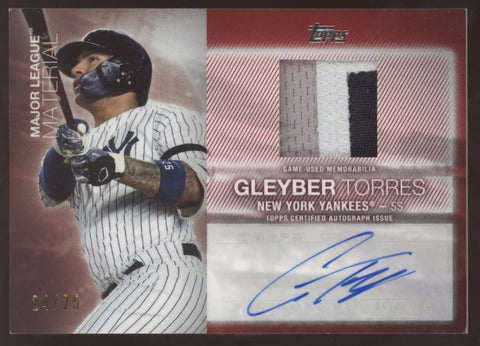 2020 Topps Update Gleyber Torres Major League Material 3 Color Patch Auto /25