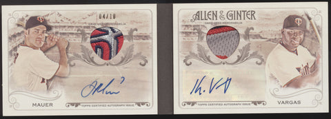 2016 Topps Allen & Ginter Joe Mauer Kennys Vargas Logo Patch Booklet Auto /10