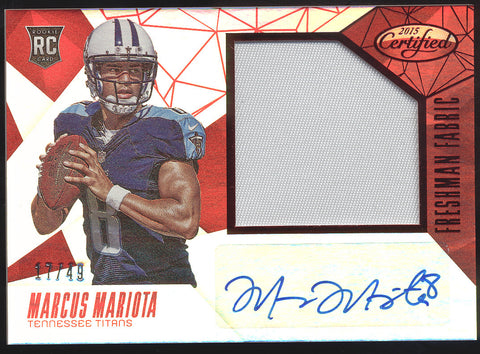 2015 Panini Certified Marcus Mariota Mirror Red Patch RC Auto Autograph /49