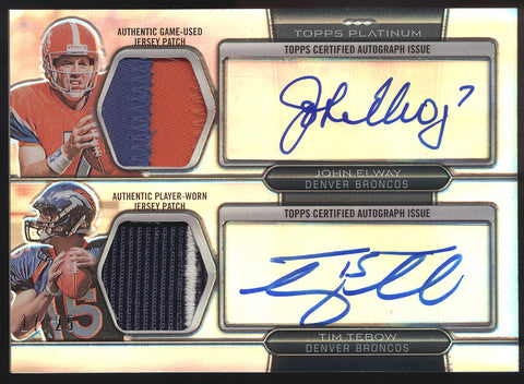 2010 Topps Platinum John Elway Tim Tebow 4 Color Dual Patch RC Auto /25