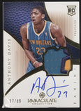 2012-13 Panini Immaculate Anthony Davis 3 Color Patch RC Auto /99 DAMAGED READ