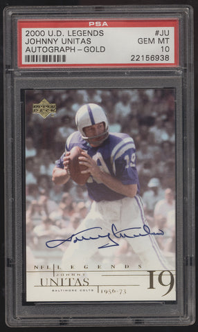 2001 Upper Deck UD Legends Johnny Unitas Colts Auto PSA 10 Gem Mint