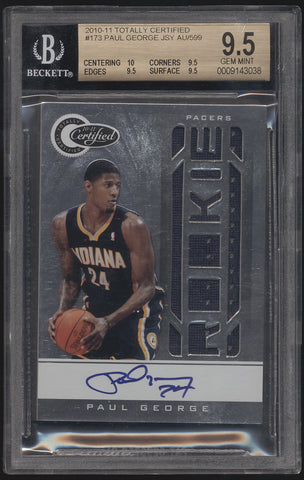 2010-11 Totally Certified Paul George Jersey RC Rookie Auto /599 BGS 9.5 10