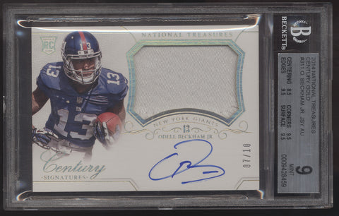 2014 National Treasures Odell Beckham Jr. Patch Gold RC Auto Autograph /10
