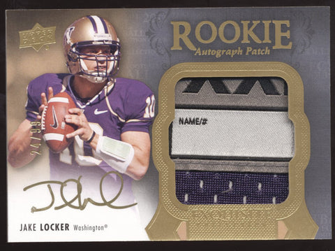 2011 UD Exquisite Jake Locker GU Tag Patch RC Auto /99
