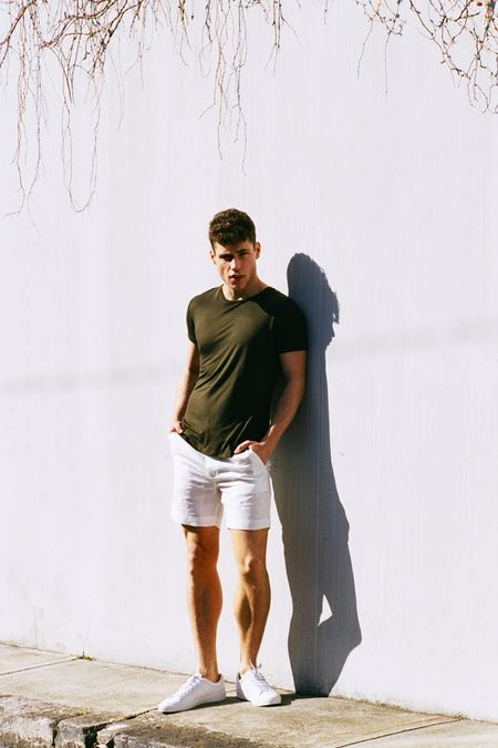 Crew Neck Tee Khaki & White Linen Shorts