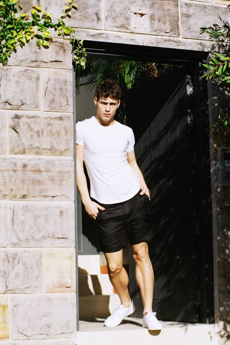 Crew Neck Tee White & Black Linen Shorts