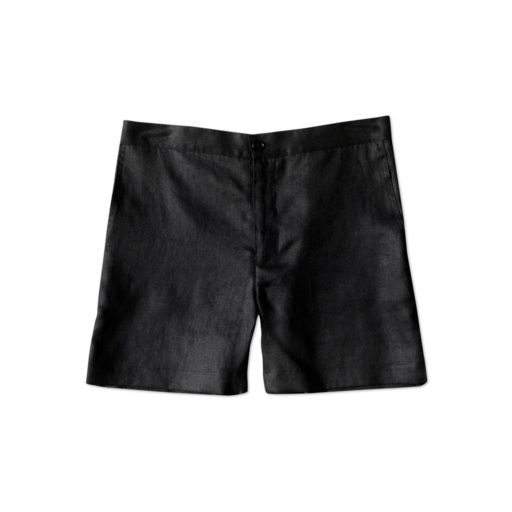 Mocha Salt Linen Shorts Black