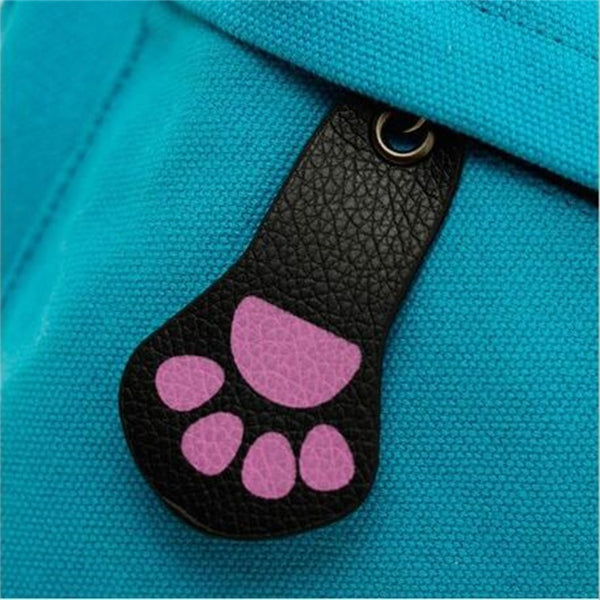Canvas girl's/women's backpack with ears and paw zipper - 9 color choices