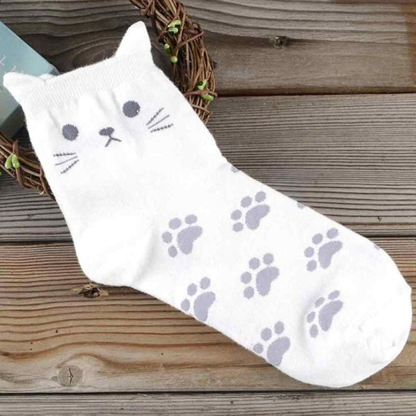 "Women's cat socks with ""ears"" and paw prints - 5 color choices"