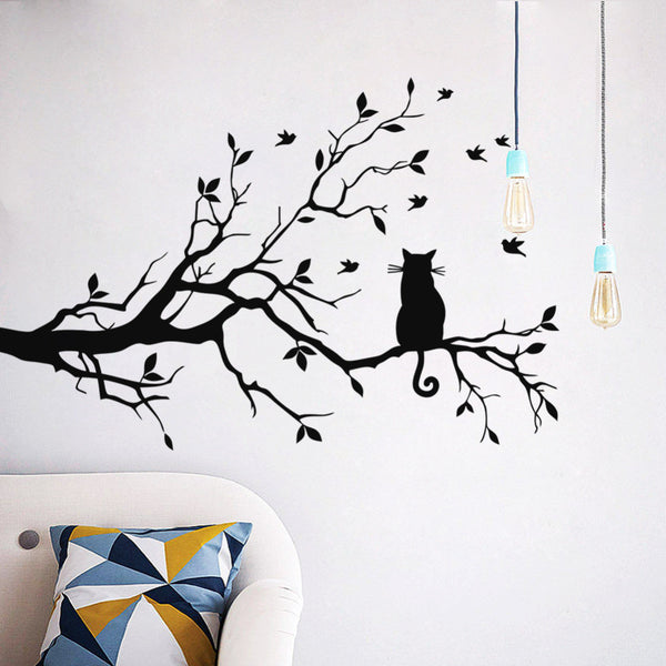 Black Cat On Tree Branch  with Birds Wall Decal