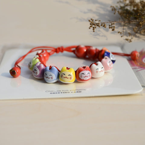 Lucky Cat ceramic bead Handmade bracelet