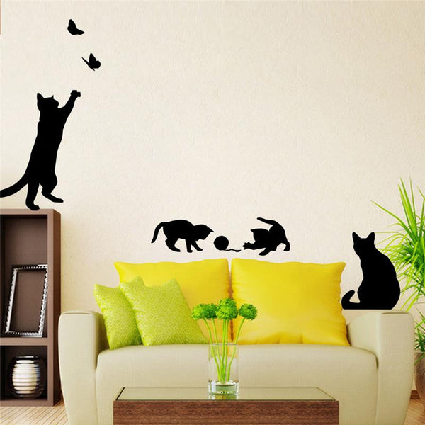 4 cute cats playing wall stickers - vinyl art cats