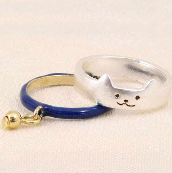 2 pc Ring set with Cat Face and Bell - silver or gold