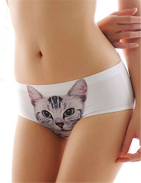 Women's printed cat face panties - 5 colors