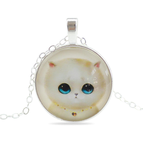 Sterling Silver Chain Glass Pendant Necklace with Adorable Cat Faces