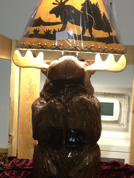 Table Lamp Chainsaw Carved Moose