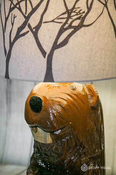 Table Lamp Chainsaw Carved Beaver