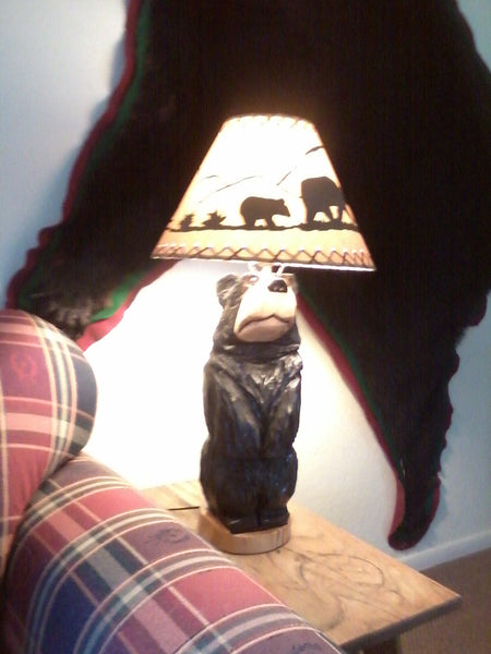 Table Lamp Chainsaw Carved Standing Bear