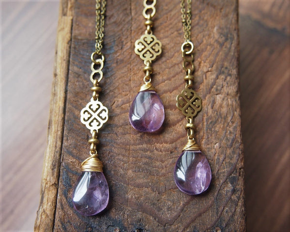 Long boho amethyst and vintage chain rosary style necklace