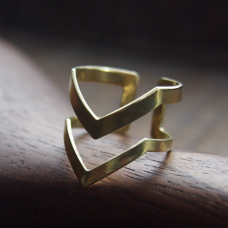 Modern 2 chevron brass ring
