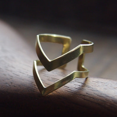 Modern and Minimal Geometric 2 Chevron Brass Ring