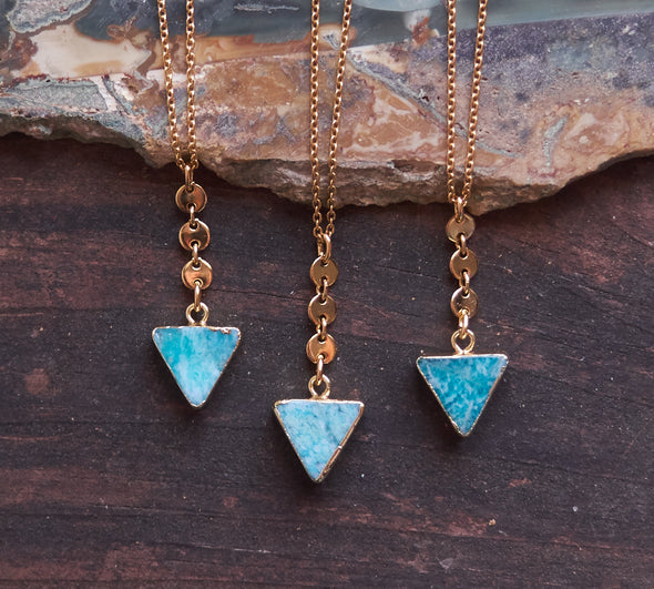 3 gold edged, triangle Amazonite gemstone necklaces