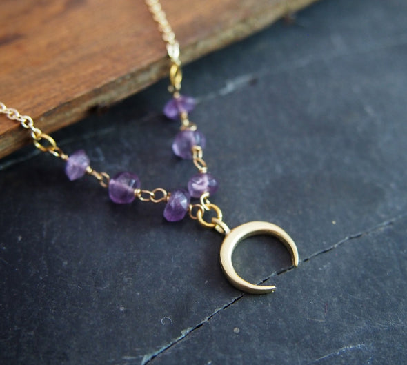 Short raw amethyst gemstone horn necklace