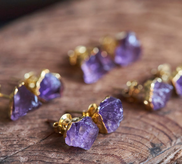 Raw amethyst crystal earrings in purple and gold