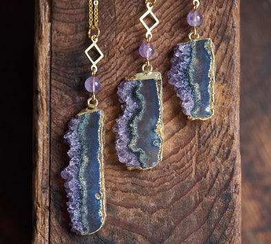 Raw amethyst slice long necklace