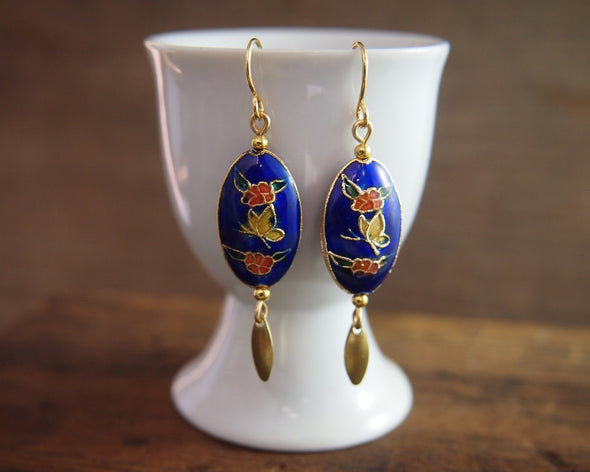 Vintage blue cloisonne enamel butterfly earrings