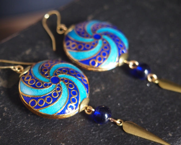 Blue spiral cloisonne enamel earrings
