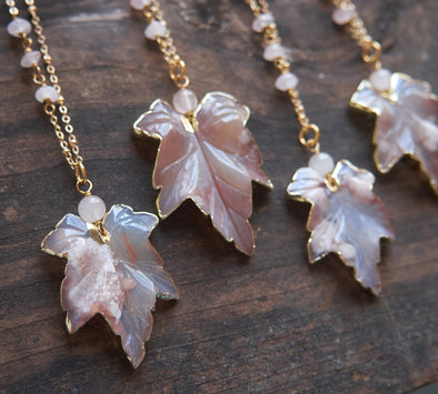 Cherry agate leaf necklaces with rose quartz detail