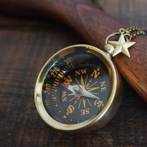 Explorer's compass necklace