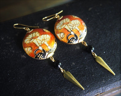Datura Art Nouveau enamel earrings