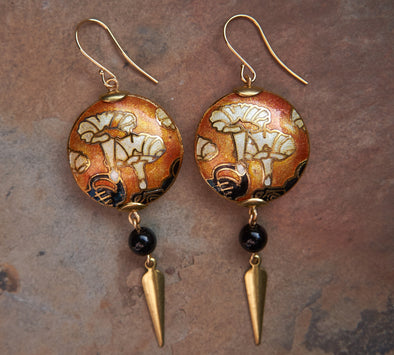 Vintage cloisonne enamel 20s earrings