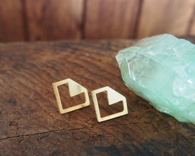 Geometric gold diamond earrings