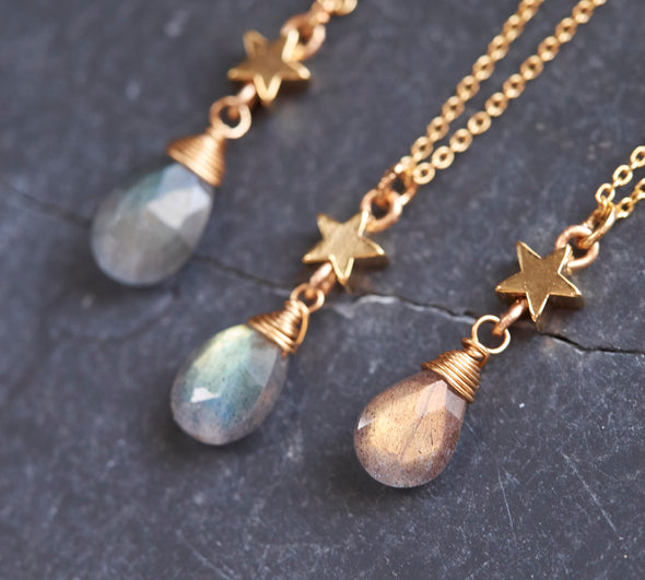 Labradorite star drop necklace
