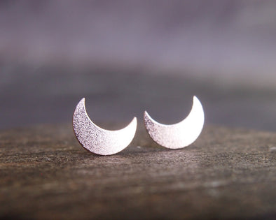 Moon rose gold stud earrings