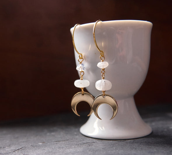 Moonstone and moon earrings